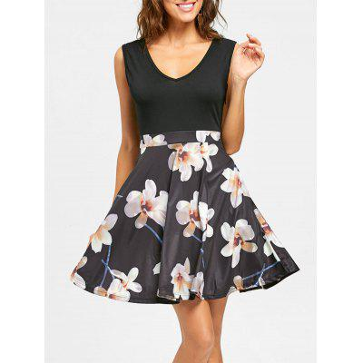 Floral Print V Neck Sleeveless Mini Dress
