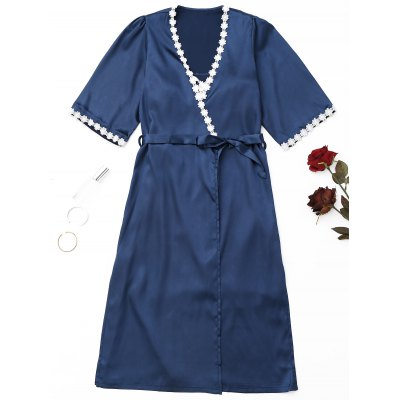 Floral Applique Wrapped Satin Night Robe Set