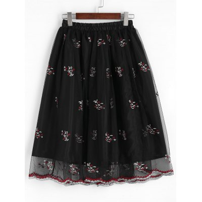 Buy BLACK S Floral Embroidered Mesh A Line Midi Skirt for $26.46 in GearBest store