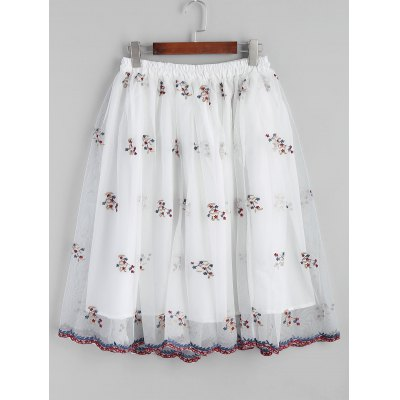Buy WHITE 2XL Floral Embroidered Mesh A Line Midi Skirt for $26.46 in GearBest store