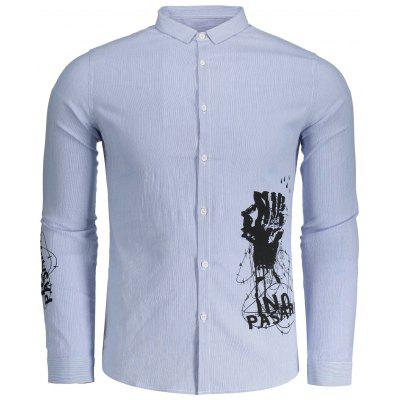 Printed Striped Mens Button Up Shirt
