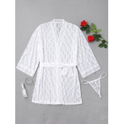 Sheer Floral Lace Night Robe