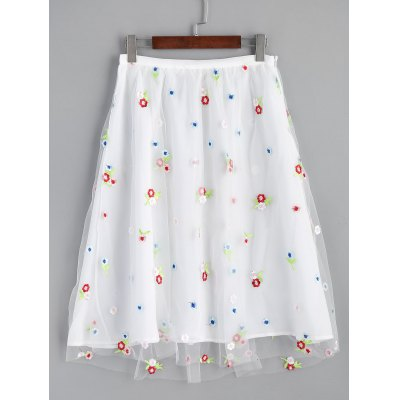 Buy WHITE XL Floral Embroidered Mesh Lined Midi Skirt for $25.77 in GearBest store
