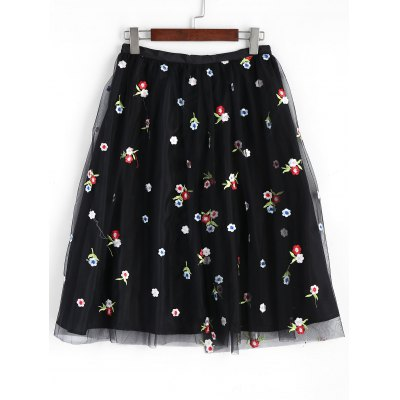 Buy BLACK M Floral Embroidered Mesh Lined Midi Skirt for $25.77 in GearBest store