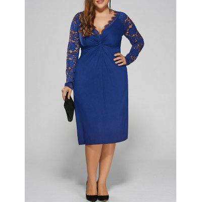 Buy BLUE 3XL Plus Size Twist Front Formal Dress with Lace Sleeves for $22.59 in GearBest store
