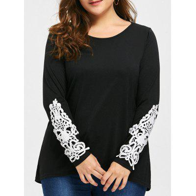 Buy BLACK 5XL Plus Size High Low Lace Panel T-shirt for $20.27 in GearBest store