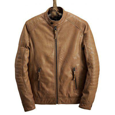 Buy LIGHT BROWN L Zip Pocket Raglan Sleeve Faux Leather Jacket for $83.09 in GearBest store