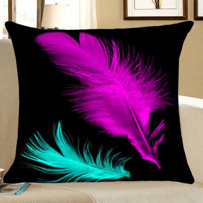Feathers Printed Throw Pillow Case