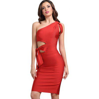Buy BRIGHT RED L Cut Out One Shoulder Fitted Dress for $52.01 in GearBest store