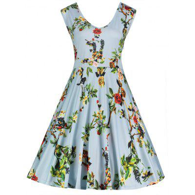 Buy AZURE 3XL V Neck Floral Print Sleeveless Plus Size Dress for $26.75 in GearBest store