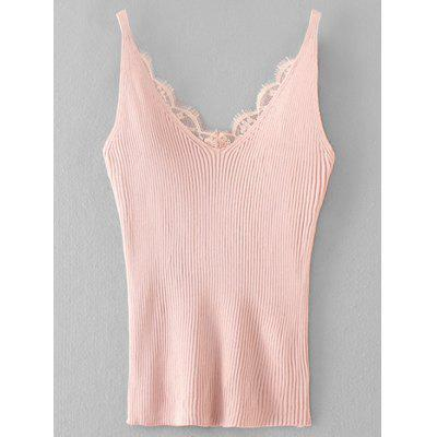 Ribbed Lace Panel Knitting Tank Top