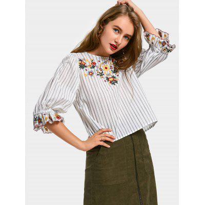 Buy WHITE M Floral Embroidered Stripes Ruffles Blouse for $21.53 in GearBest store