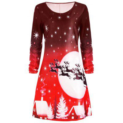Christmas Deer Long Sleeve Dress