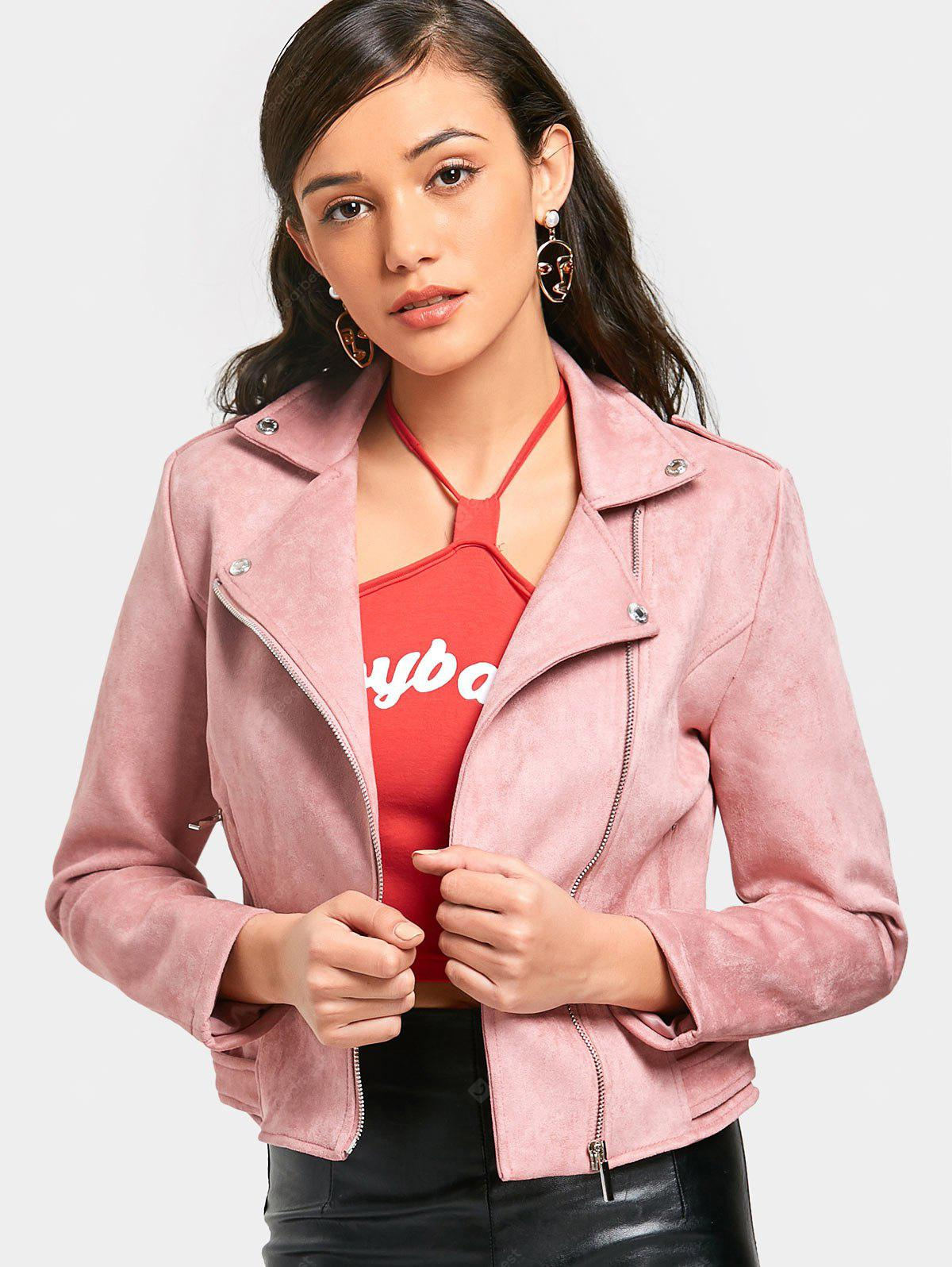 Inclined Zipper Faux Suede Jacket