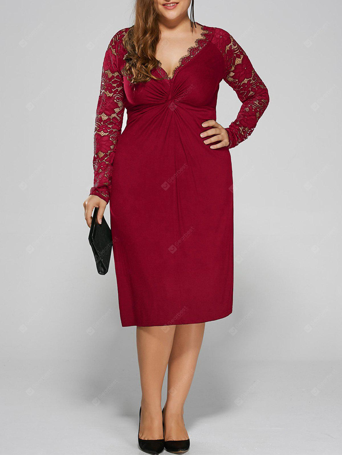Plus Size Twist Front Lace Insert Fitted Dress