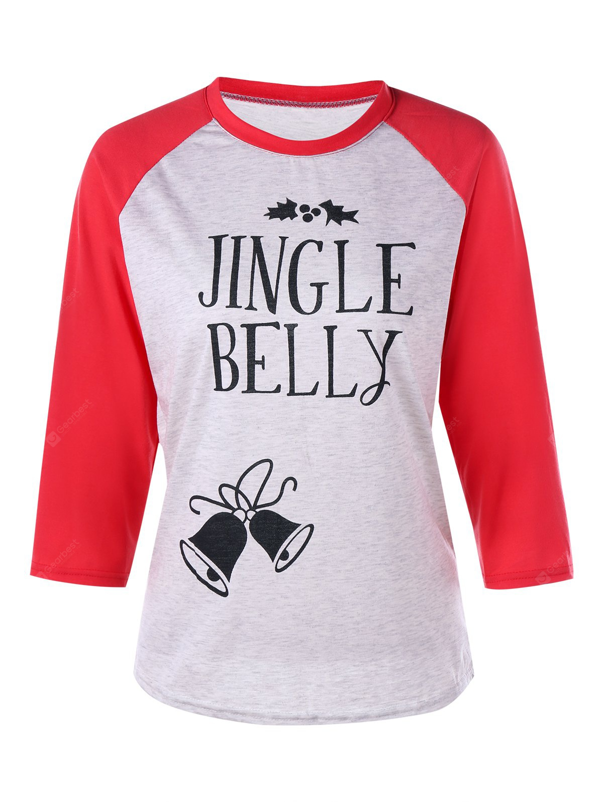 Weihnachts Jingle Belly Print Raglan Ärmel T-Shirt