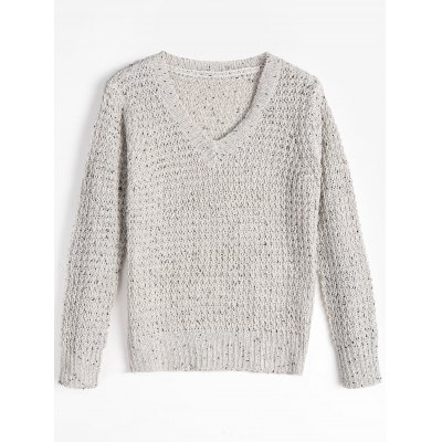Buy LIGHT GRAY Loose Knit V Neck Sweater for $27.19 in GearBest store