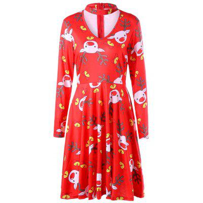 Ugly Christmas Elk Cut Out Dress