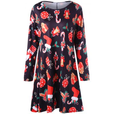 Plus Size Geschenk Print Mini Christmas Dress