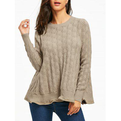 Open Knit Ruffle Sweater