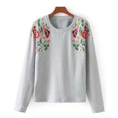 Buy LIGHT GRAY M Marled Sunflower Embroidered Sweatshirt for $30.58 in GearBest store