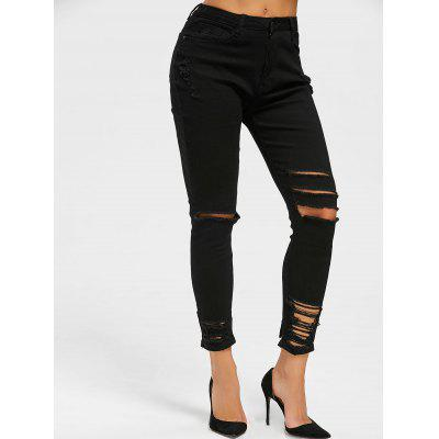Buy BLACK L Destroyed Skinny Jeans for $28.94 in GearBest store