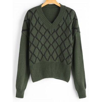 Buy ARMY GREEN V Neck Argyle Sweater for $26.08 in GearBest store