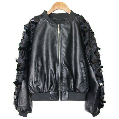 Sequined Zip Up Faux Leather Jacket