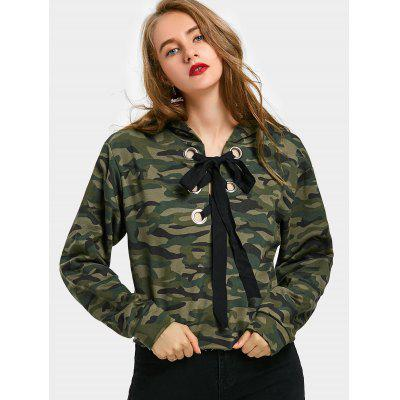 Buy ARMY GREEN M Camouflage Floral Embroidered Drawstring Hoodie for $27.46 in GearBest store