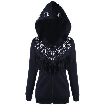 Halloween Moon Print Fringe Zip Up Hoodie