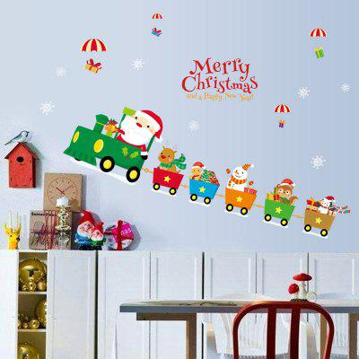 Christmas Santa Train Pattern Wall Art Stickers For Living Room