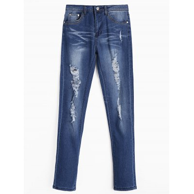 Zipper Fly Ripped Jeans with Pockets