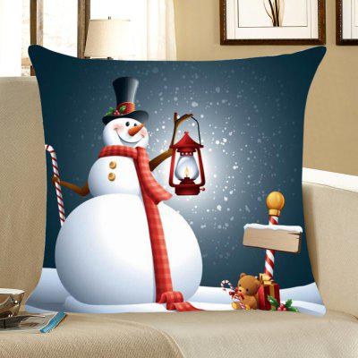 Christmas Snowman Printing Throw Pillow Case