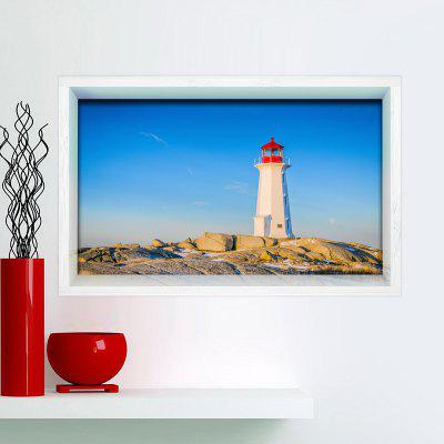 Buy SKY BLUE 3D Lighthouse Print Multifunction Stick-on Wall Art Painting for $24.12 in GearBest store