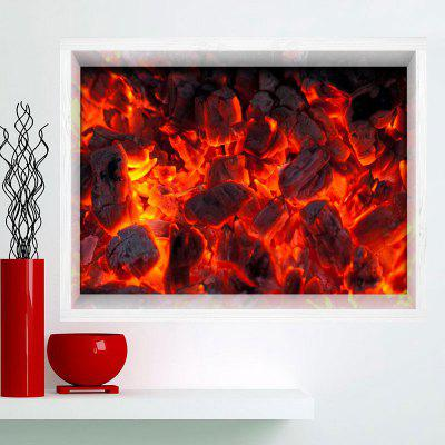Buy FLAME RED 3D Hot Coals Print Stick-on Multifunction Wall Art Painting for $24.12 in GearBest store