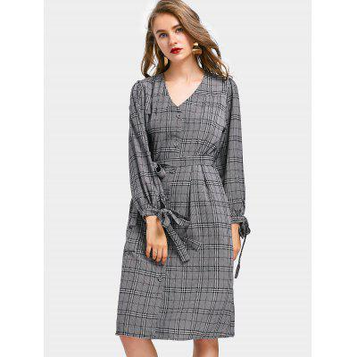 Button Up Belted Checked Shirt Dress