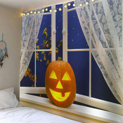 Buy YELLOW Halloween Pumpkin Window Printed Waterproof Tapestry for $21.92 in GearBest store