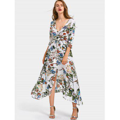 Buy WHITE M Floral Front Slit Belted Maxi Dress for $27.18 in GearBest store