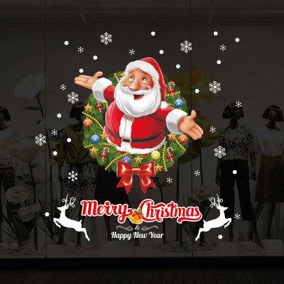 Christmas Wreath Santa Pattern Wall Stickers For Living Room