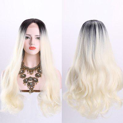 Long Middle Part Wavy Ombre Lace Front Synthetic Wig