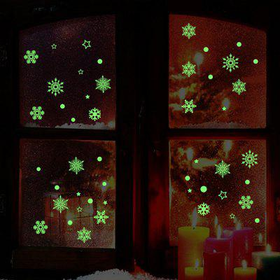 Glow In The Dark Christmas Snowflakes Pattern Wall Stickers