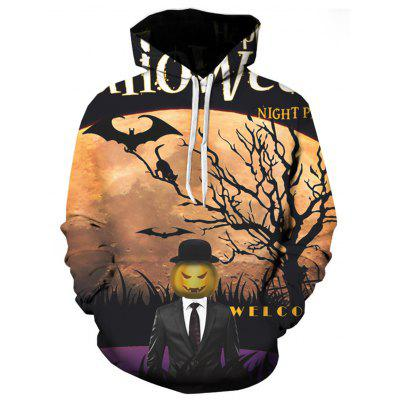Hooded 3D Halloween Graphic Print Pullover Hoodie