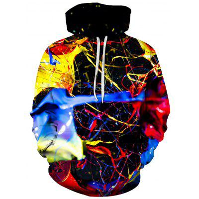 3D Colorful Splatter Paint Print Pullover Hoodie