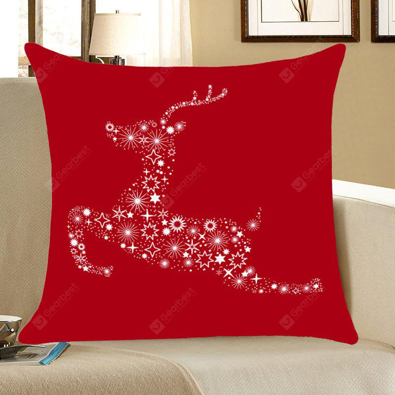 RED Christmas Stars Elk Printed Decorative Pillow Case