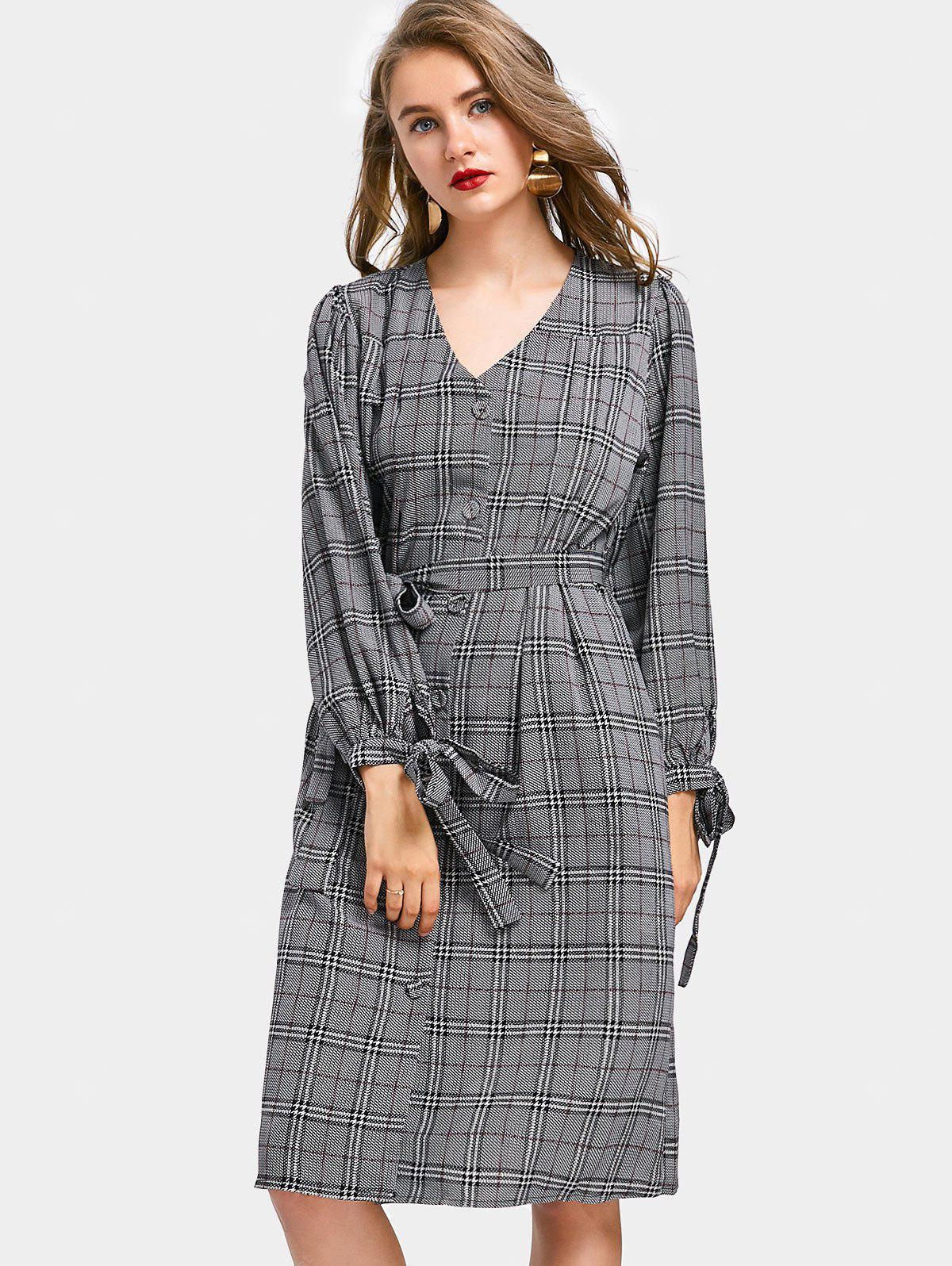 Button Belted Checked Shirt Dress CHECKED