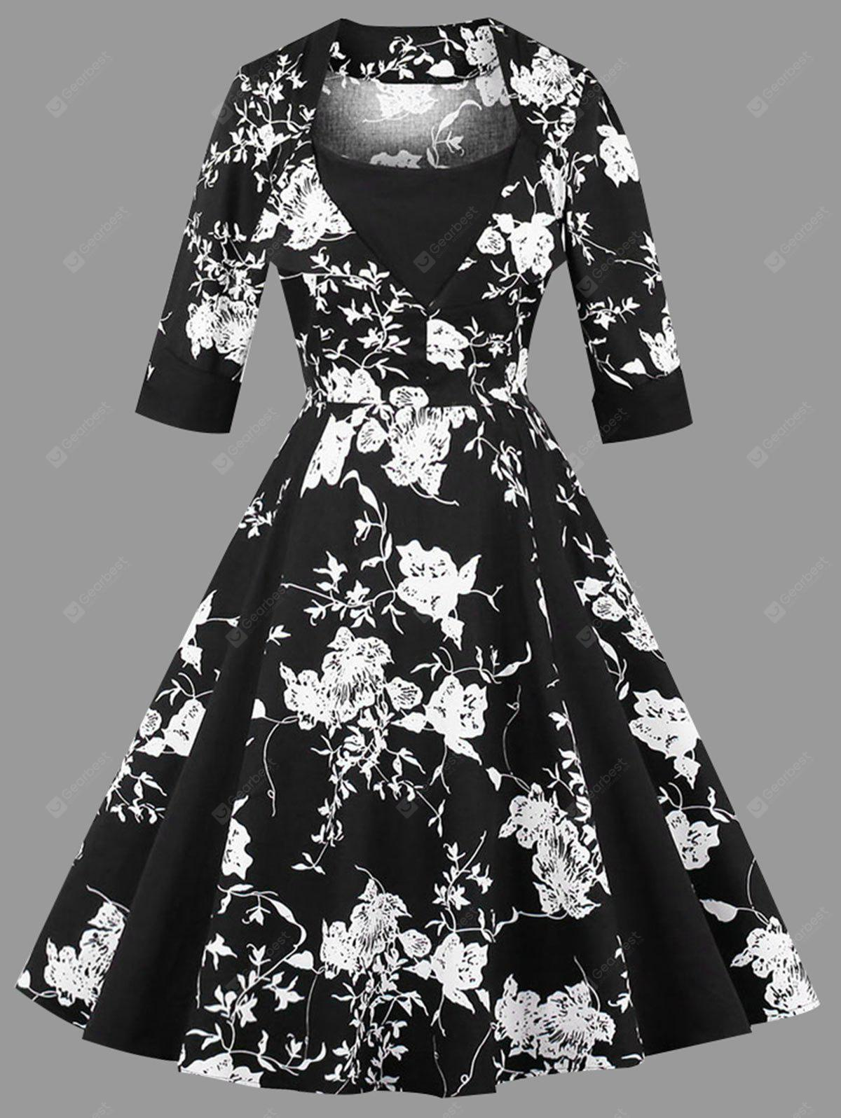 Floral Print Vintage Plus Size Dress