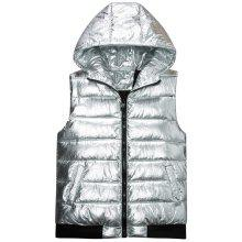 Metallic Color Zip Up Hooded Quilted Vest