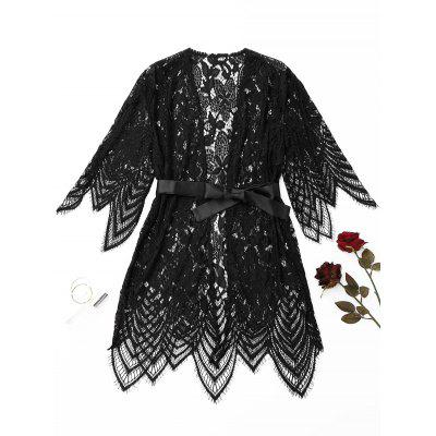 Scalloped Belted Lace Night-robe