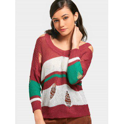 Buy BRICK-RED Cold Shoulder Stripes Ripped Pullover Sweater for $19.45 in GearBest store
