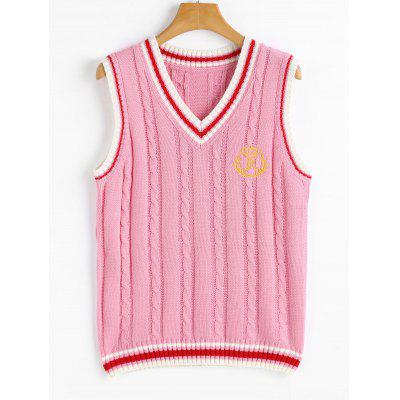 Buy PINK V Neck Cable Knit Patchwork Sweater Vest for $20.99 in GearBest store